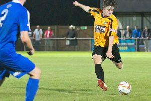 Jamie Jellis scoring his debut goal. Picture by Mike Snell