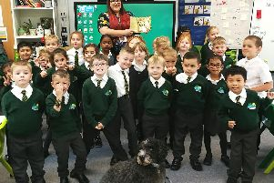 Cinzia Imbriano with her pupils at Green Ridge and school dog, Barkley