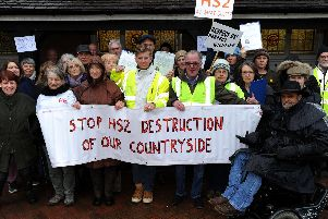 Anti-HS2 campaigners in Steeple Claydon