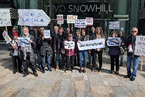 Anti-HS2 campaigners outside HS2 headquarters in Birmingham