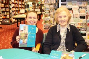 Peggy alongside Waterstones store manager, Claire Clarke.