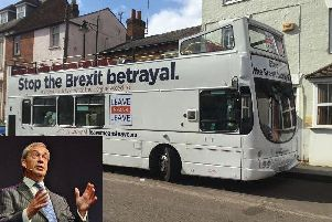 The Leave Means Leave bus as it arrives in Buckingham (Inset: Nigel Farage)