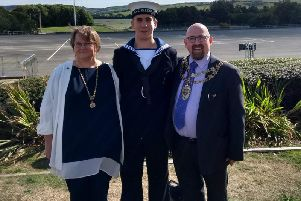 Mark Willis and his family at his son's passing out ceremony for the Royal Navy