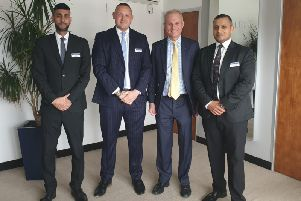 David Lidington MP meeting with John Watson [2nd from left], Hale Leys Shopping Centre Manager, and his senior team