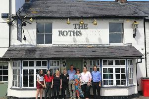 Campaigners outside the Rothschild Arms in Aston Clinton