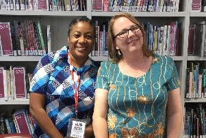 Award winning authors Teri Terry and Patrice Lawrence, who announced the long list nominees last year at Aylesbury Grammar School