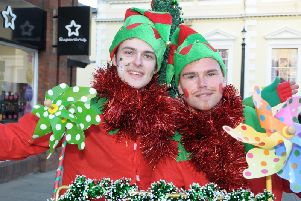 Mr Giggles and Boody the Elf at the Christmas lights event