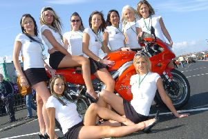 Models promoting a previous North West 200. Photo: Pacemaker