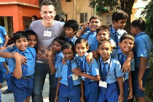 Peter Johnston with pupils at the Emmanuel Ministries school in Kolkata.