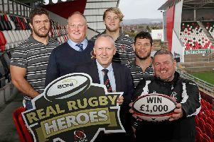 At the launch (L-R) Wiehahn Herbst (Ulster Rugby), Patrick Baird, (Adult winner 2018), Nick Fullerton (Director, SONI), Rob Lyttle (Ulster Rugby), Marcell Coetzee (Ulster Rugby), Noel Brown (Youth & Mini Rugby winner 2018)