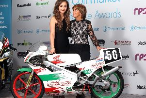 William Dunlops partner Janine and mum Louise pictured at the Cornmarket Motorbike Awards in Belfast on Friday night. o