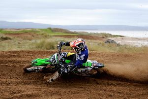 Jonathan Rea in action at Magilligan MX track