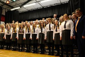 The choir from Carrickfergus Grammar School.