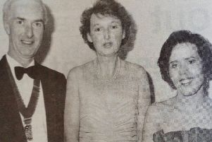 Pictured at the Carrickfergus Round Table Dinner Dance are John and Coliinette Gill with Stephen and Heather Best. 1991.