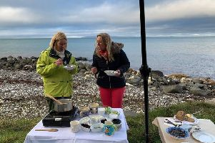 Gillian Thompson, from Irish Seaweed Company and Louise Gostelow cook up a treat at the seafront.