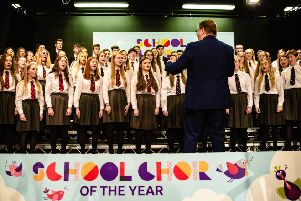 Carrickfergus Grammar School Choir taking part in the BBC competition.