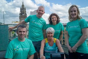Gavin Hendrie, Practice Director at Quigg Golden, Patrick McAliskey, Managing Director at Novosco, Bowel Cancer UK Patron and UTV presenter Pamela Ballantine, Dorcas Crawford, Senior Partner at Edwards & Co and Bernie McGarry, Senior Health Promotion and Training Officer at Bowel Cancer UK.