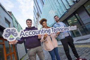 "Accounting Technician Apprentices Conor Fogarty, Gabrielle O�""Reilly and Ciaran Brennan. 150 jobs are to be created in Northern Ireland though the Higher Level Apprenticeship in Accountancy. Pic: Fintan Clarke"