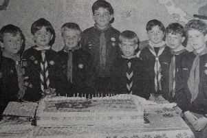 Cubs representing packs in East Antrim at the 75th birthday party in Carrick Leisure Centre. 1991.