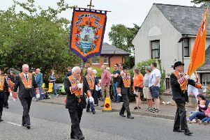 Carrickfergus District LOL No 19 breathern make their way to the field in Ballyclare. INNT 29-025-PSB