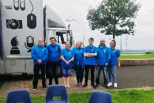 The Carrick Connect team outside the WheelWorks ChillCart at Marine Gardens, Carrickfergus.