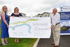 Vivienne Walsh, Investment & Funding Delivery Manager, Kelli Bagchus MEA LAG Vice Chair and Robert McKay, owner of Whitehill Caravan Park in Carnlough.