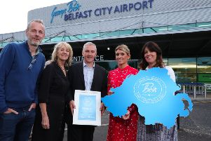 Damian Cassidy representing Kilcreggan Urban Farm - a finalist in the Belfast City Airport initiative to find Northern Ireland's Best Small Visitor Attraction -  accepts the award from Justin Reid (TripAdvisor), Rosemary Lightbody (Tourism NI), Cliona Arthur (Belfast City Airport) and Jenny McKeown (VisitBritain).