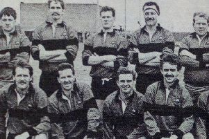 Carrickfergus Rugby Club's team before their match against the West of Scotland, 1989
