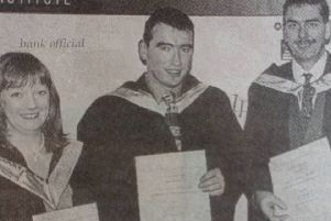 Carol Dodds (Newtownabbey), Stephen Armstrong (Glengormley), Seymour Manderson (Larne) and Denise Singleton (Glengormley) received JEB teachers' diplomas in information technology skills at the East Antrim Institute graduation event.'1997