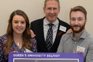 Emma McQuiggan and (right) Ben Lindsay from Stand, Gold Award winners of the Engineers in Business Competition, pictured with the President of Engineers in Business Fellowship, David Falzani MBE.  David coached the team during the Grand Final day.