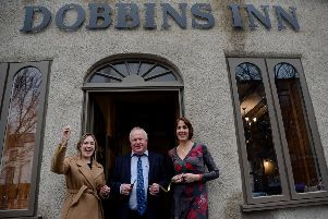 Councillors Cheryl Johnston and Robin Stewart with Kirsty Fallis, owner of  Dobbins Inn Hotel.