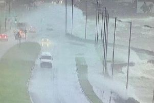 Belfast Road was battered by high winds and heavy rain during Storm Brendan.