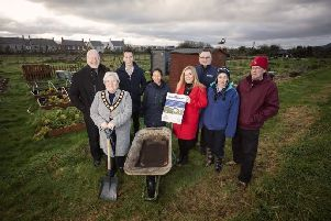 David Hilditch MLA, the Deputy Mayor, Cllr Beth Adger, Cllr Peter Johnston, Angelica Florez, Groundwork NI, Niamh-Anne McNally, Cllr Mark Collins, Dawn Hart, Greenisland Youth Group and Adrian Johnston, chair of Greenisland Allotment Association.