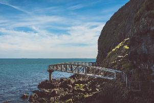 Section of The Gobbins cliff path.