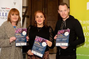 Lyn Kernohan, sales executive, Larne Times, Anne Donaghy, chief executive, Mid and East Antrim Council and Niall Curneen, Brighter Futures, general manager, Larne Football Club, at the launch of the Larne Times Business Excellence Awards in Larne Town Hall.
