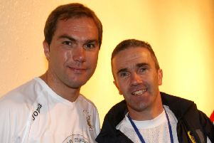Arnie Clarke (right) with Liverpool and Republic of Ireland footballer Jason McAteer in 2007