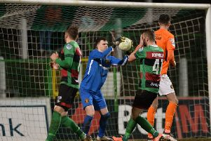 Carrick Rangers goalkeeper Harry Doherty was in top form during the 0-0 draw with Glentoran at the Oval. Pic by Pacemaker