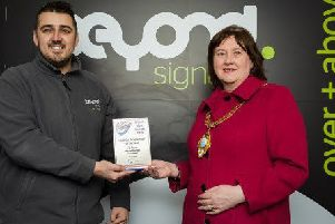 Mayor of Mid and East Antrim, Cllr Maureen Morrow, with Matt Burns from Beyond Signage