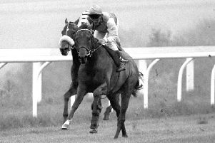 Pat Eddery partners Rainbow Quest to Clive Graham Stakes at Goodwood in 1985