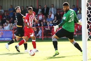 Gary Roberts sees a chance go begging against Accrington at the Crown Ground Picture: Joe Pepler