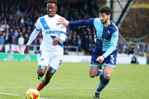 Jamal Lowe could have put Pompey ahead after 10 seconds on Saturday Picture: Joe Pepler