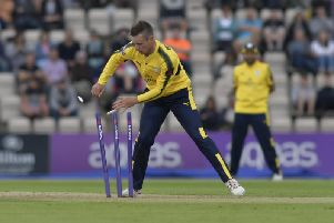 Mason Crane in action for Hampshire earlier in the summer. Picture by Neil Marshall