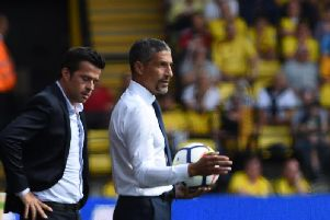 Brighton manager Chris Hughton on the touchline at Vicarage Road. Picture by PW Sporting Pics