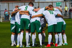 Rocks' pre-match huddle prior to the Bank Holiday Monday clash with Eastbourne Borough. Picture by Tommy McMillan