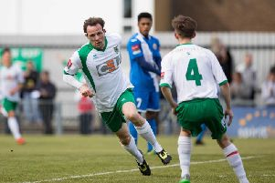 Gary Charman celebrates his goal against Harlow last April / Picture by Tim Hale