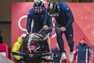 18.02.2018 - Bradley Hall & Joel Fearon compete in the Men's two man bobsleigh at the 2018 Pyeongchang Winter Olympic Games.'Picture by Andy Ryan/Team GB SUS-180219-131341002