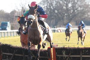 Old Guard and Harry Cobden on their way to National Spirit Hurdle success. Picture: Fontwell Park