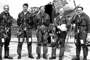 Duncan Simpson, centre, with the first four RAF pilots he trained to fly the Harrier in 1969