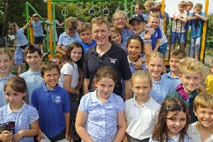 Major Tim Peake unveiled a plaque next to an oak tree which was planted by Westbourne Parish Council - and officially opened the recently refurbished playground area at Monks Hill Recreation Ground. Picture: Malcolm Wells