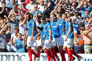 Pompey celebrate victory over Plymouth. Picture: Joe Pepler